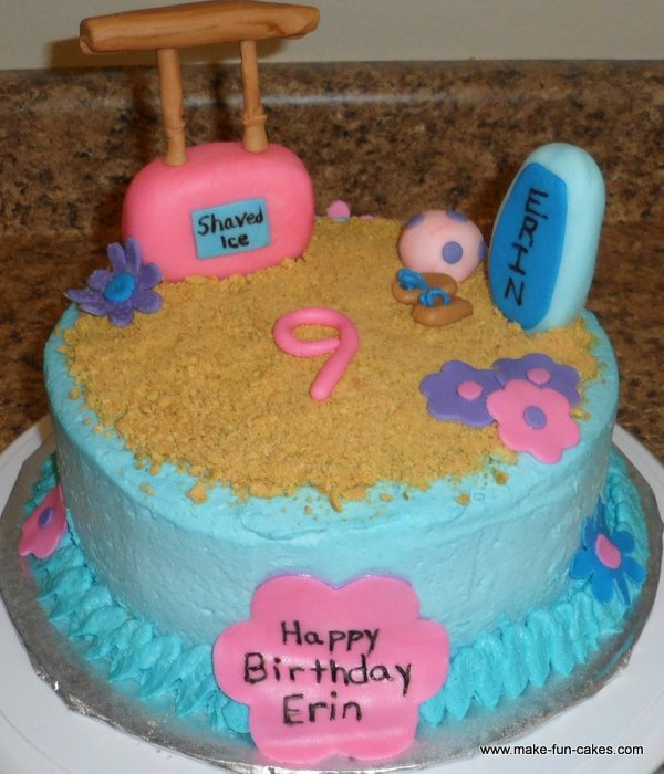Outstanding Sandy Beach Themed Cake Funny Birthday Cards Online Inifofree Goldxyz